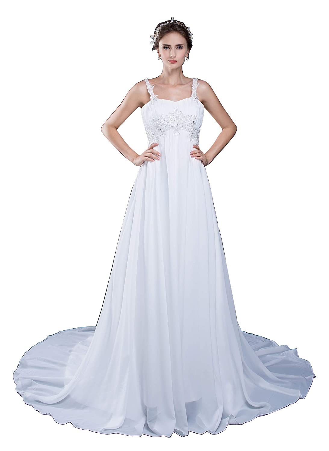 Womens A Line Square Backless Beach Wedding Dress Bride Gown With
