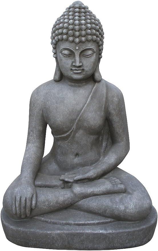 Stone-Lite Figura de Buda Sentado Bhumisparsha-mudra - para casa y jardín - Altura 80 cm - Gris: Amazon.es: Jardín