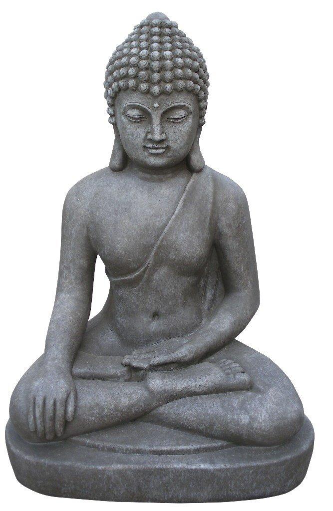 Figur Buddha sitzend Bhumisparsha-mudra - für Haus und Garten - Höhe 60 cm - grau