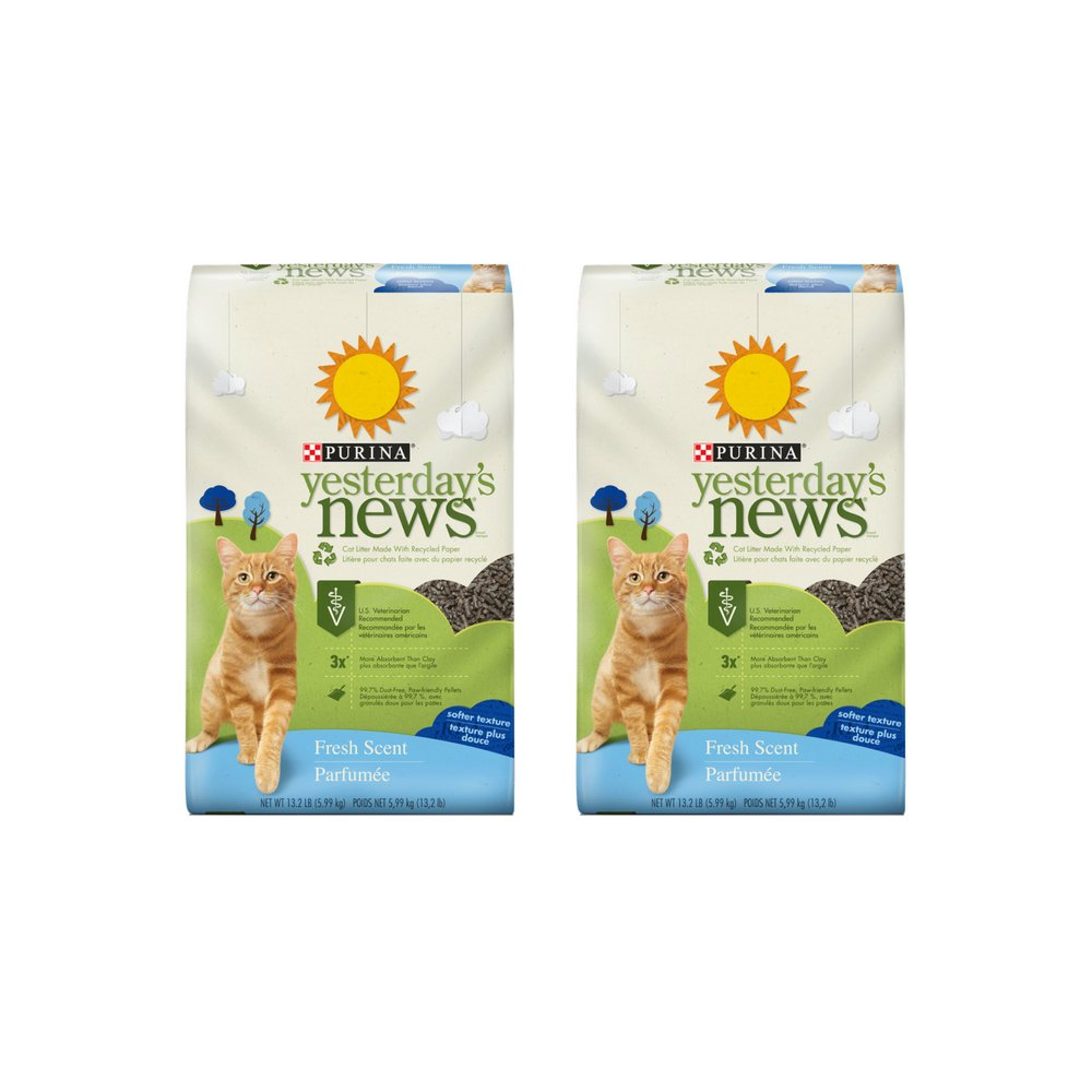 Purina Yesterday's News Fresh Scent Cat Litter 13.2 lb. Bag 2 Pack
