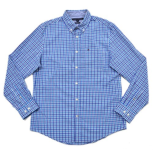 Custom Button Down Shirts (Tommy Hilfiger Mens Custom Fit Tattersall Buttondown Shirt (X-Large, Blue))