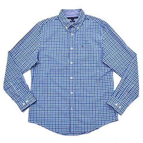 Custom Button Down Shirts (Tommy Hilfiger Mens Custom Fit Tattersall Buttondown Shirt (X-Large, Blue))