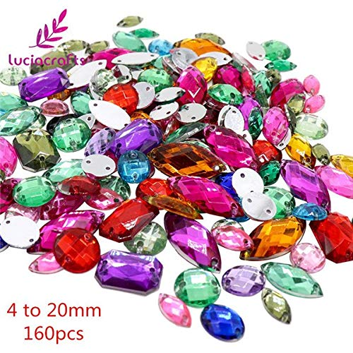 Best Quality - Rhinestones - cafts Mixed Shapes Clear sew On Rhinestones Flat Back Crystal Glass Stones Clothes DIY Decoration Accessories 003018035 - by Olwen Shop