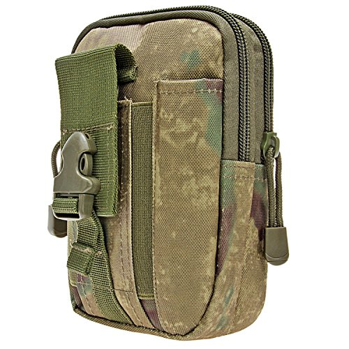 Tactical Pouch, Multi-Purpose Compact MOLLE EDC Utility Gadget Tool Waist Bag Pack with D Carabiner Multitool Card (A-TACS FG)