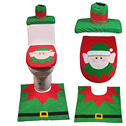 Amazon Com Christmas Elf Toilet Cover Seat Foot Pad Tank Cover
