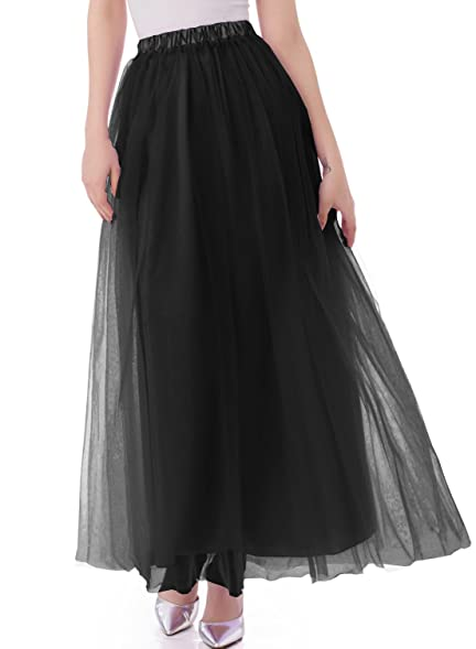 Emondora Tutu Tulle A Line Floor Length Skirt Women Prom Evening Gown Dress  Up Black
