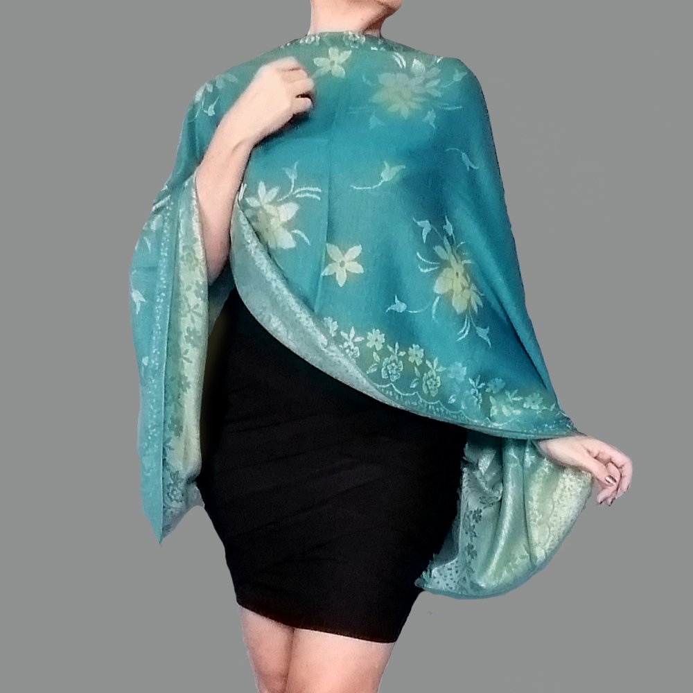 Turquoise Shawl Metallic Gold Wedding Wrap Stole By ZiiCi