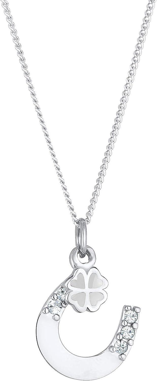 Elli Collares colgante de herradura y hoja de trébol con cristales Swarovski® en plata de ley 925