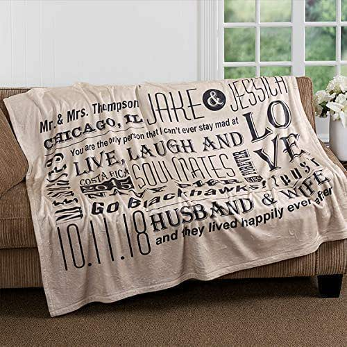 Amazon Com Popular Wedding Gift Word Collage Blanket Personalized