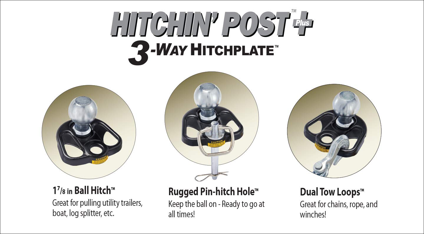3 Way Hitch Plate Includes 1 ⅞ Ball Gardening Carts Made of Heavy-Duty Cast Steel with Powder-Coated Finish Snow Machines Hitch for Boat Trailer Hitchin Post Plus Lawn Mower Connector