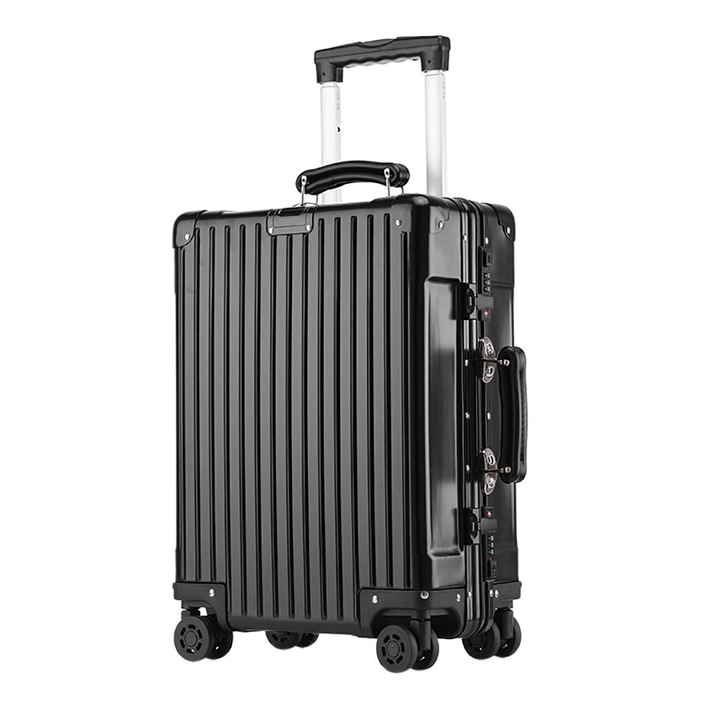 ブラックビジネス軽量スーツケース軽量PC + ABS持ち運び用手荷物4スピナーホイールトロリーケース(20インチ)男性用 B07P9HVYKZ Black 39x20.5x53.5cm