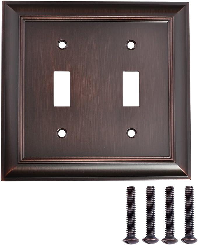 Amazon Basics Double Toggle Light Switch Wall Plate Oil Rubbed Bronze Set Of 2 Amazon Com