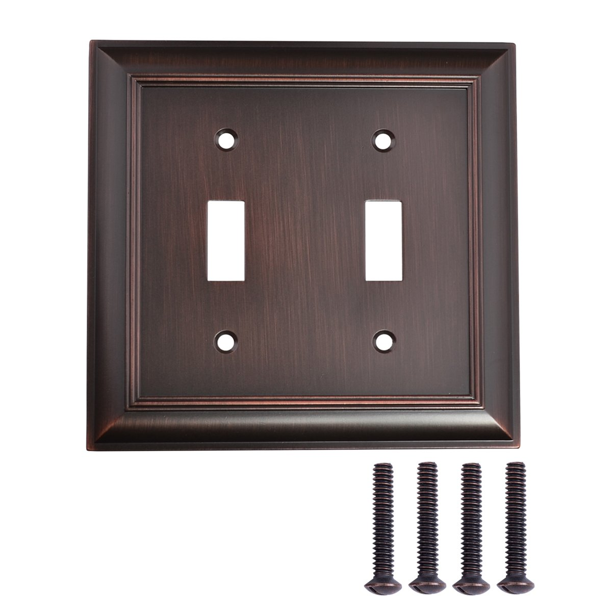 AmazonBasics Double Toggle Light Switch Wall Plate, Oil Rubbed Bronze, Set of 2