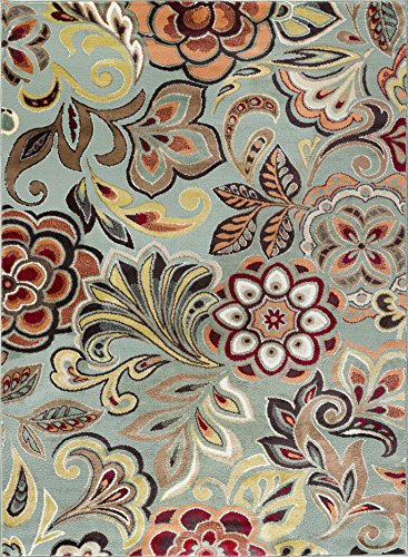 Dilek Transitional Floral Seafoam Rectangle Area Rug, 8' x 10'