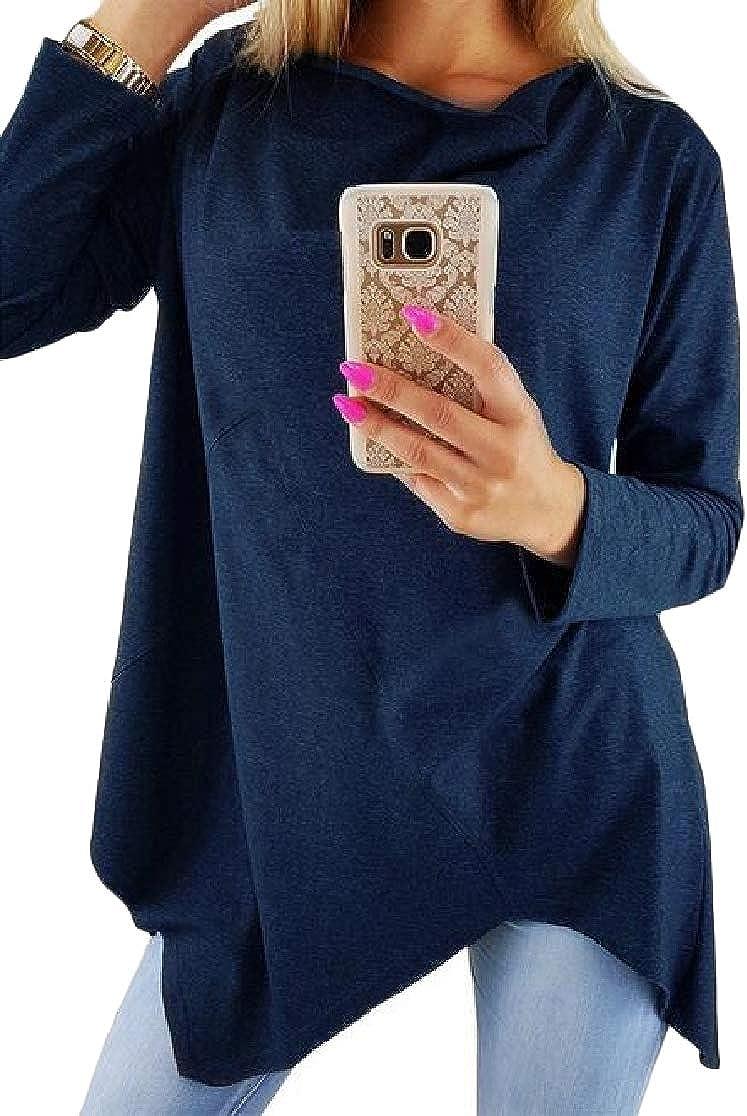 Joe Wenko Womens Oversize Tunic Long-Sleeve Irregular O-Neck Stylish Tops T-Shirt