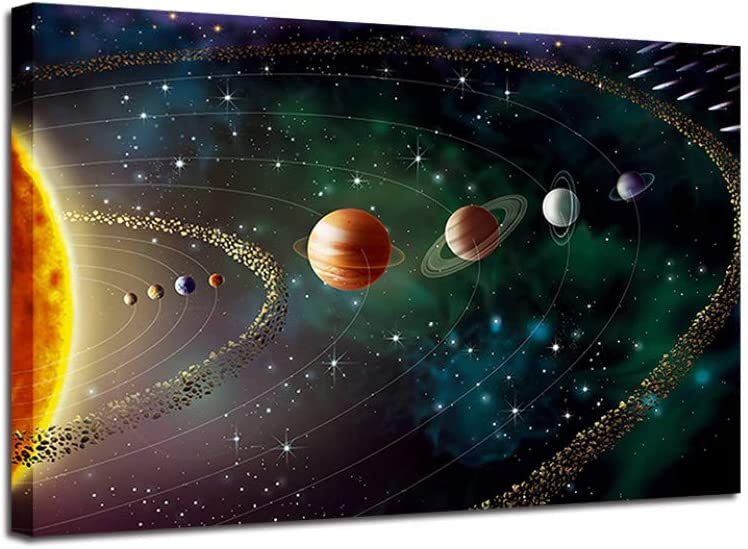SKYROPNG Prints Canvas,Cosmic Solar System Modern Mural Art Wall Non Woven Pop Posters Modular Personalised Artwork Image Home Office Walls Culture Ink Space,80Cm X 110Cm/31.4 43.3 in