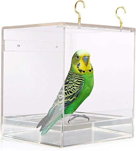 Bird Bath Cage Outdoor Hanging Bird Cleaning Box Domestic Birds Pet Shower Accessories Suitable for Parrot Cuckoo Small Birds