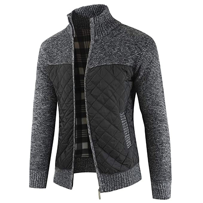 Men Jacket Casual Winter Packwork Warm Zipper Knit Cardigan ...