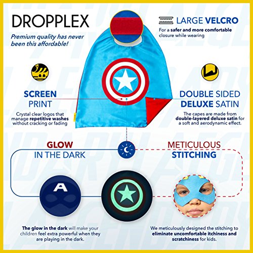 Super Hero Toys /& Costumes Birthday Party Supplies Dropplex 8 Superhero Capes for Kids