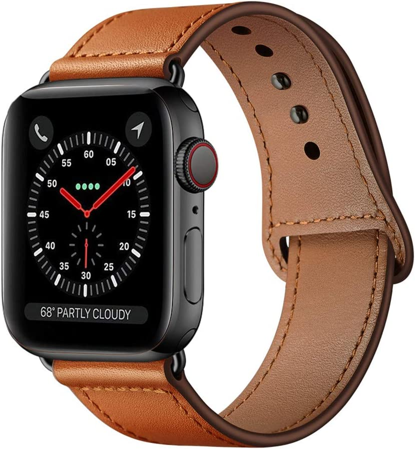 KYISGOS Compatible with iWatch Band 40mm 38mm 44mm 42mm, Genuine Leather Replacement Band Strap Compatible with Apple Watch SE Series 6 5 4 3 2 1 (Brown/Black, 40mm/38mm)