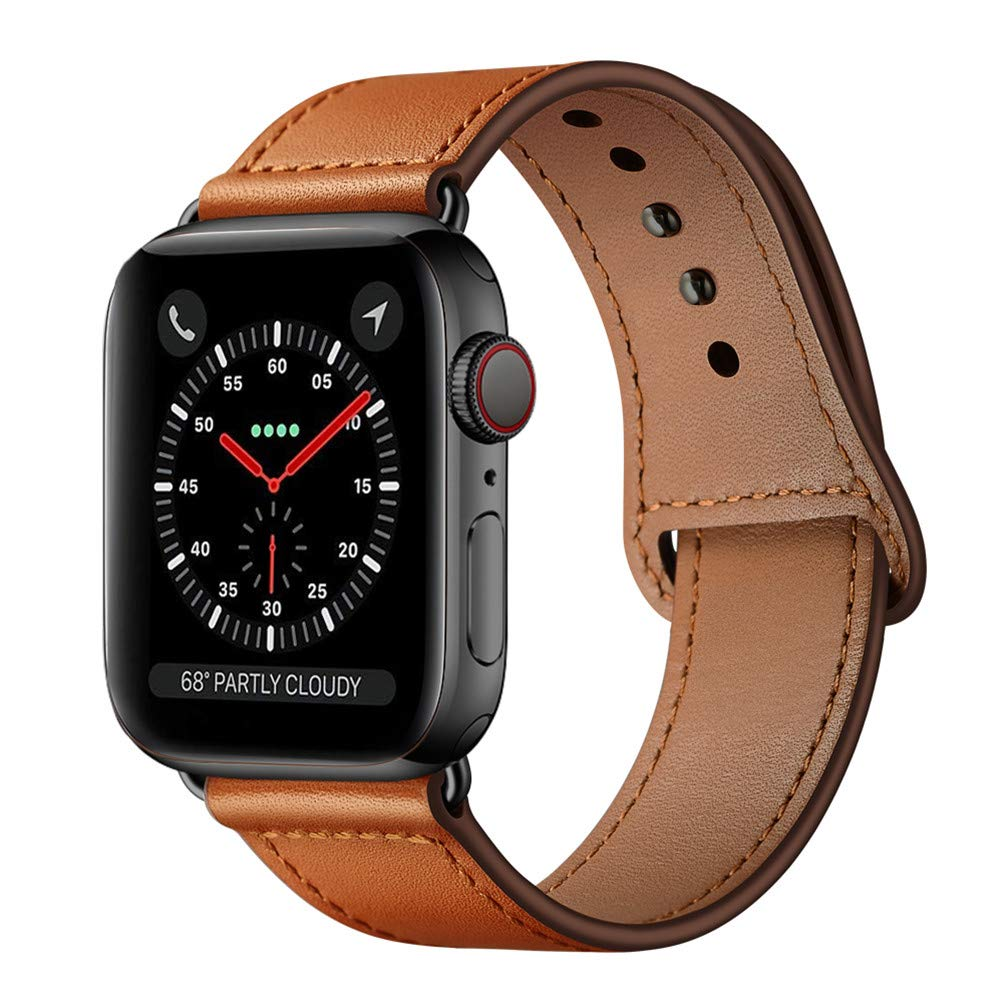 KYISGOS Compatible with iWatch Band 44mm 42mm, Genuine Leather Replacement Band Strap Compatible with Apple Watch Series 5 4 3 2 1 42mm 44mm, Brown by KYISGOS