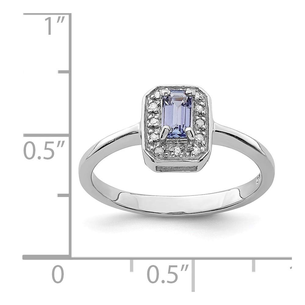 Mia Diamonds 925 Sterling Silver Solid Tanzanite and Diamond Ring 0.04cttw