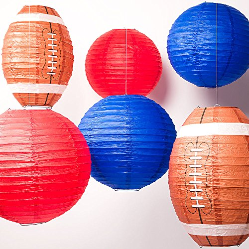 Quasimoon Football-CM13 Pro Football Paper Lanterns 6 Piece Party, 12 14