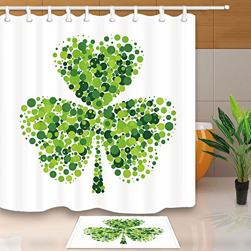 NYMB Green Clover Leaves Decor, Shamrock Leaf on White for Saint Patrick's Day, 69X70in Mildew Resistant Polyester Fabric Shower Curtain Set 15.7x23.6in Flannel Non-Slip Floor Doormat Bath Rugs