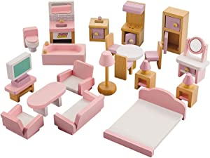 Nuoyi Pink Color Wooden Dollhouse Furniture 4 Set - 22 Piece - Living Room,Bedroom,Bathroom and Kitchen Accessories,Smooth Edges