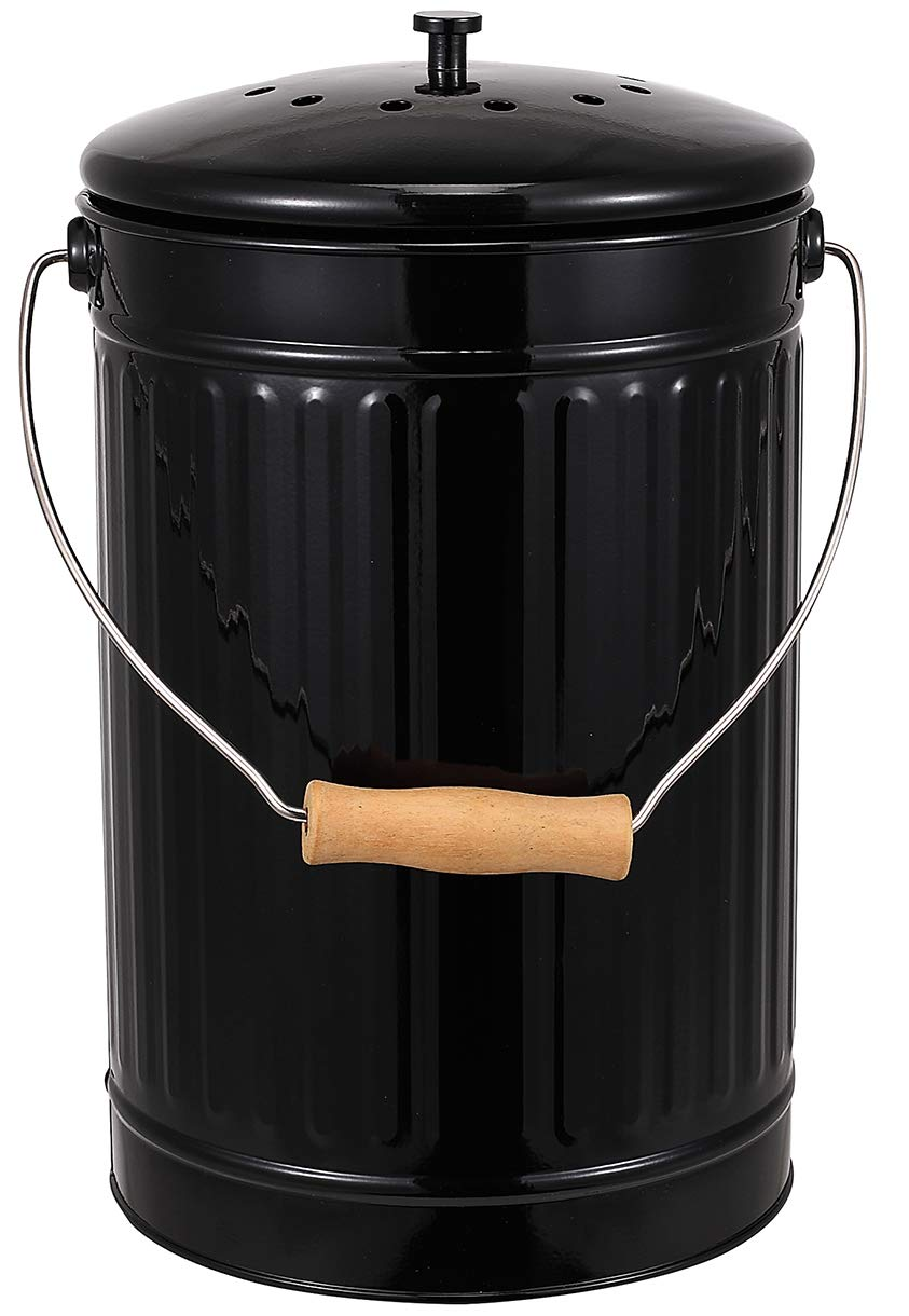 Indoor Kitchen Compost Bin for Kitchen Countertop, Great for Food Scraps, Stainless Steel, Handles, Black, 1 Gallon - Includes Charcoal Filter