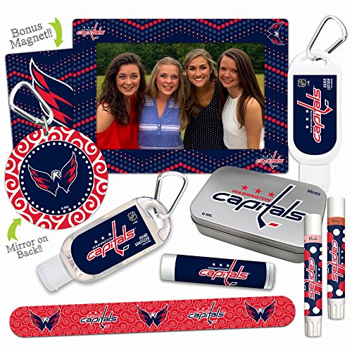NHL Washington Capitals Platinum Variety Set- with 2 Lip Shimmers, Lip Balm SPF 15, Nail File, Mirror, Sanitizer, Lotion, Mint Tin, Magnetic Picture Frame. Gifts for Women, by Worthy. ()