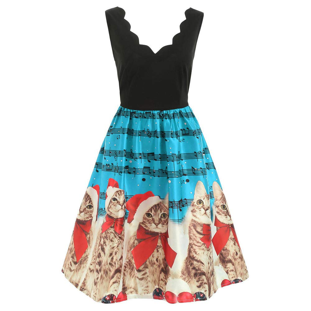 bf0081bdef5 Amazon.com  Women 2018 Christmas A Line Swing Dress Cuekondy Sexy Fashion  Xmas Cat Musical Note Print Vintage Evening Party Dress  Sports   Outdoors