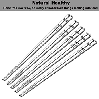 Greata 10 Pairs Of Reusable Metal Stainless Steel Chopsticks