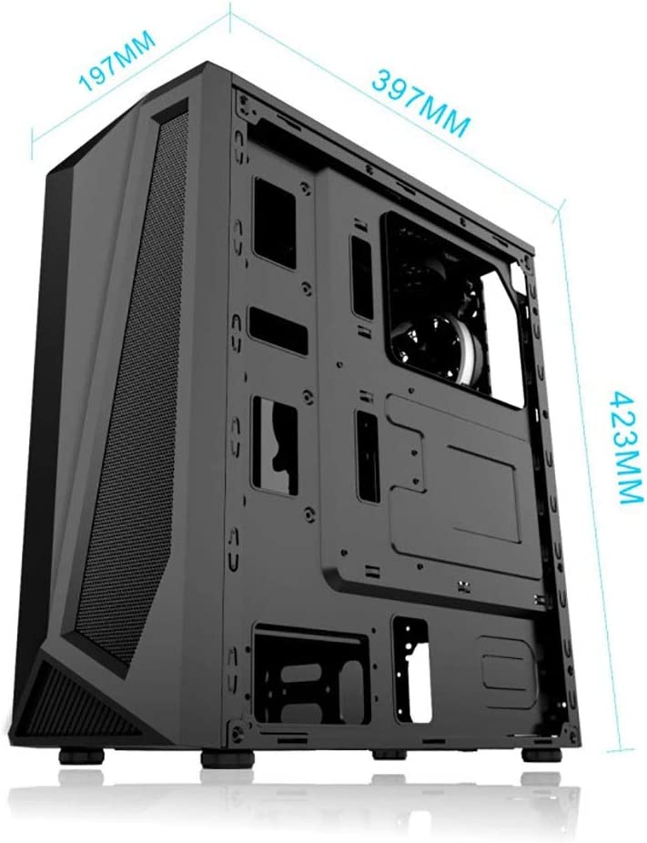 Tempered Glass case ATX//6x120mm Fan//USB3.0 XZ15 Medium Tower Gaming Computer case RGB Colorful Lighting Black Color : Black
