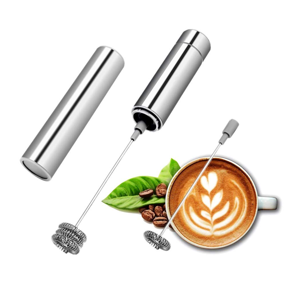 Milk Frother Handheld, Stainless Steel Foam Maker Battery-Operated Electric Drink Mixer for Coffee, Latte, Cappuccino, Hot Chocolate and More KNEWMART