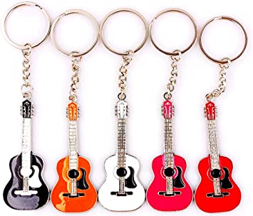 GUITAR Musical Instrument Classical Acoustic String Keyring Keychain Key Gift