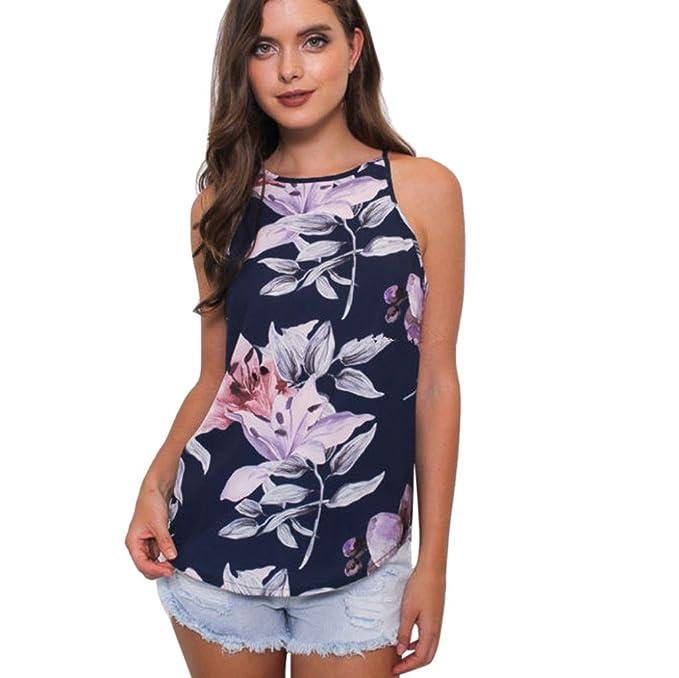Tank tops Mujer,Koly Señoras Casual chiffon Flores completas flor Mujer Verano Imprimir Camisa sin mangas Chaleco Camisetas y tops Blusas y camisas ...