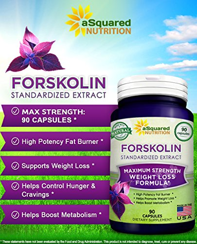 100% Pure Forskolin (90 Capsules) - Max Strength 250mg Forskolin Extract for Weight Loss Fuel, Coleus Forskohlii Root 20% Standardized Diet Supplement Pills, Belly Buster Fat Burner 2x Slim Trim Lose