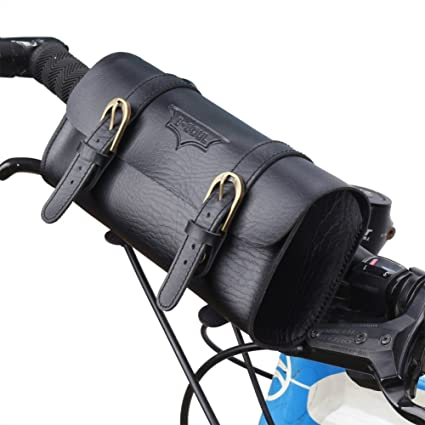 Leather Retro Bicycle Bags Front Handlebar Bike Tube Frame Saddle Cycling Pouch