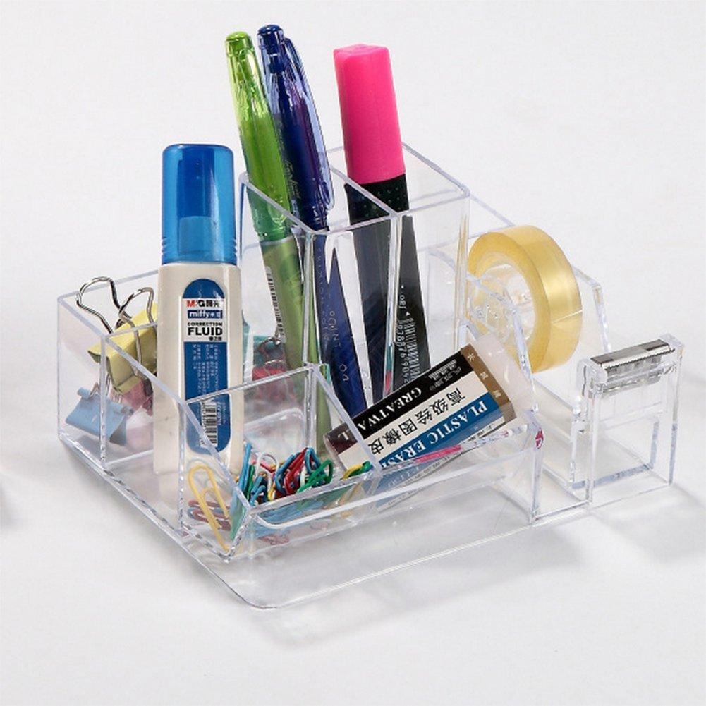 12 9cm,portapenne in plastica,organizzatore di articoli di cancelleria,forniture per ufficio,Marrone Fablcrew Pen holder,desktop in ordine 15