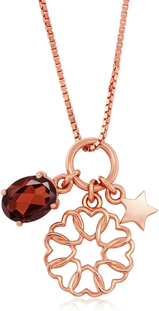 Gem Stone King 1.20 Ct Red Garnet 18K Rose Gold Plated Silver Star charm Pendant With Chain