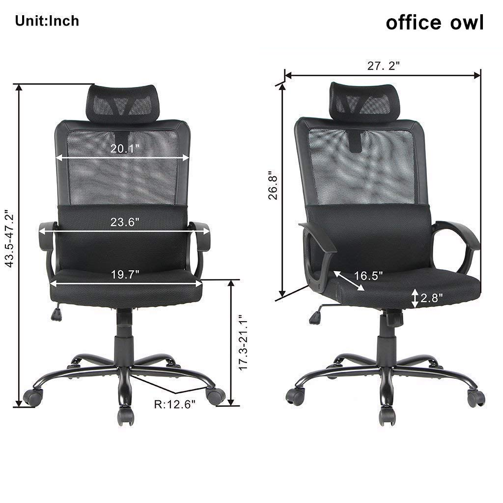 office owl Ergonomic Office Chair Adjustable Headrest Mesh Office Chair Office Desk Chair Computer Task Chair (Black) by Office Owl (Image #2)