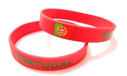 Unisex País Bandera nacional de silicona pulsera de goma de moda pulsera brazalete (Portugal)