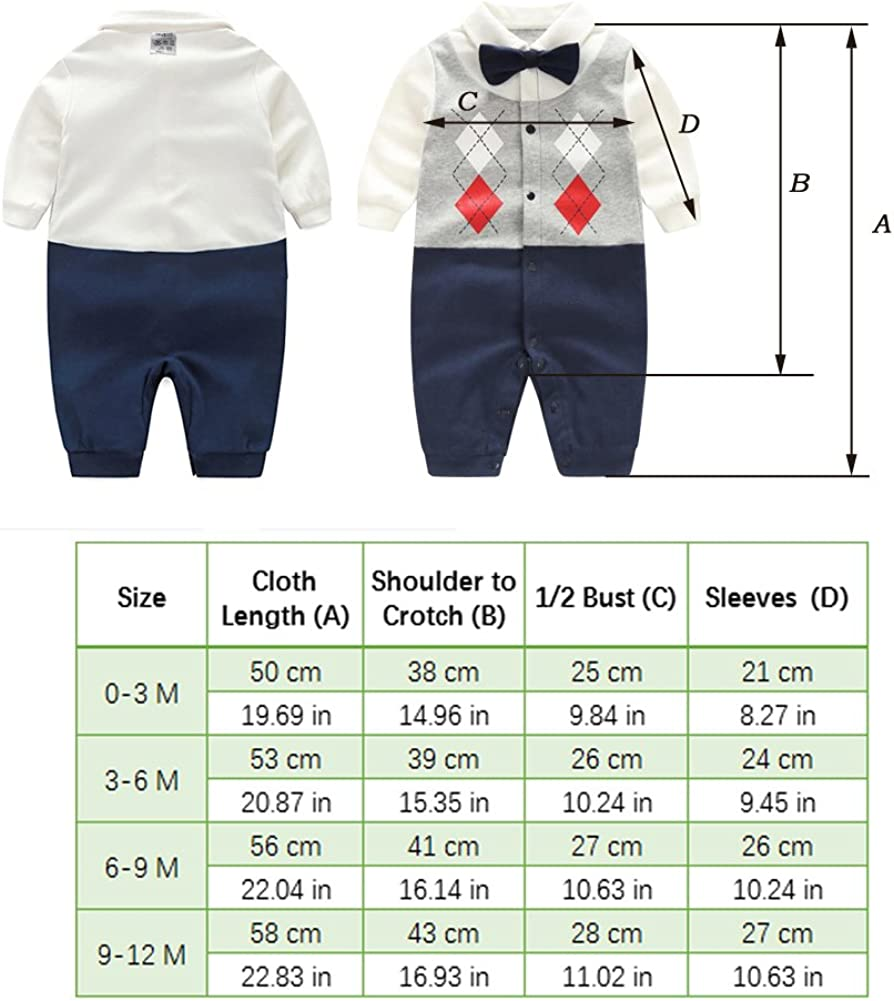 Fairy Baby Boys Gentleman Romper Newborn Outfit with Bow Tie
