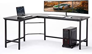 "AuAg Modern L-Shaped Home Office Desk 66 inch Sturdy Computer PC Laptop Table Corner Desk Workstation Larger Gaming Desk Easy to Assemble 66"" x 49"" x 29"" (Black)"