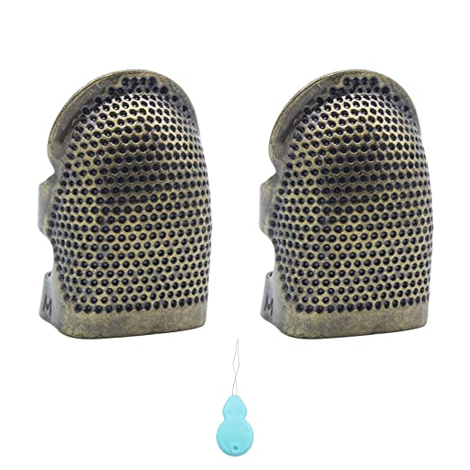 Kit de herramientas de costura-Protector de dedos de dedal de costura Protector de dedos ajustable de cobre
