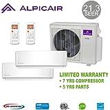 AlpicAir +Multi Dual-Zone Ductless Mini-Split System 18,000 BTU Inverter Heat Pump (9k+9k)