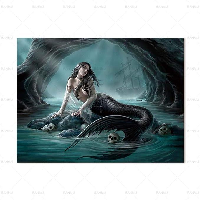 RTCKF Mermaid Poster Painting Art Family Lienzo de impresión ...
