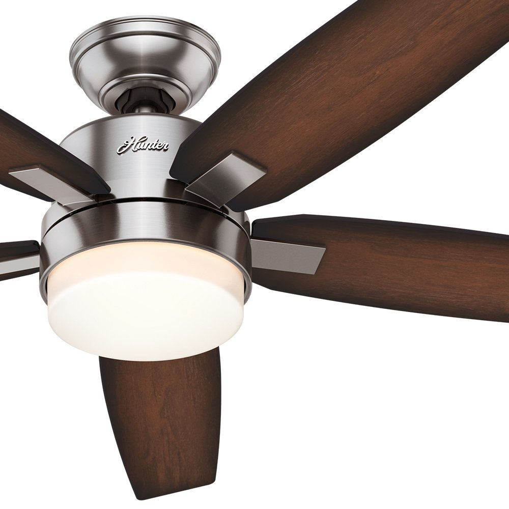 Hunter 54 contemporary brushed nickel ceiling fan with light hunter 54 contemporary brushed nickel ceiling fan with light fixture and remote control 5 blade certified refurbished amazon aloadofball Image collections