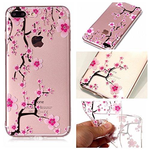 iPhone 7 Plus Hülle , Leiai Modisch Kirschblüte TPU Transparent Clear Weich Tasche Schutzhülle Silikon Handyhülle Stoßdämpfende Schale Fall Case Shell für Apple iPhone 7 Plus